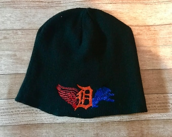 Detroit beanie. Winter hat. Detroit hat. Michigan hat. Football. Hockey. Baseball. Lions. Tigers. Red wings