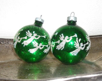 green angel Christmas ornaments - vintage glass balls with white and gold glitter angels - shabby cottage chic - ornate hollywood regency