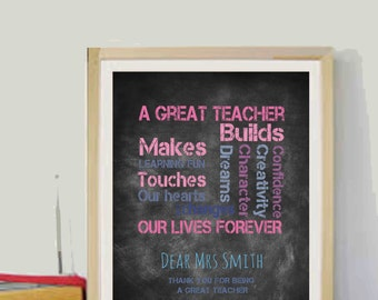 Personalized Teacher Gift Year end gift for Teacher Quotes 8x10 Printable Gifts for Teacher