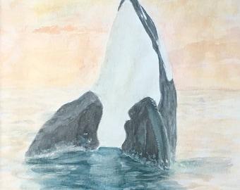 Orca Ocean Original Watercolor Painting