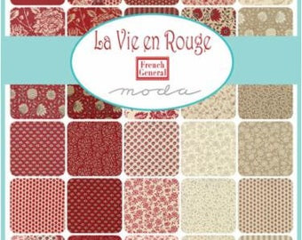 La Vie en Rouge by French General - 30 x FQ Bundle