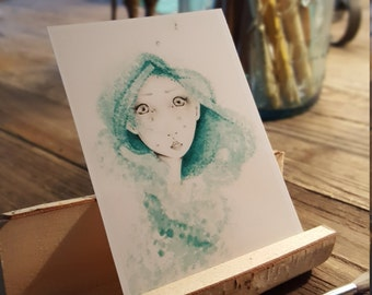 "ACEO Print ""She Dreamed She was a Mermaid"" Fine Art ACEO Print of my original Watercolor Painting Pencil Drawing Collectible Mini Artwork"