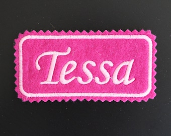 Name patch custom embroidered on felt, 4x2 inches, IRON-ON name label, Personalized name tag, embroidered patch.