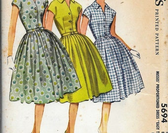 Vintage 1960s McCall's 5694 Dress Full Skirt Fitted Bodice Sewing Pattern UNCUT Size 16 Bust 36