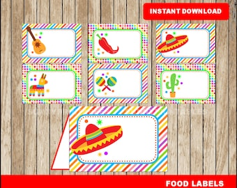 Mexican fiesta food labels; printable Mexican fiesta tent cards, Cinco de mayo party food tent cards instant download