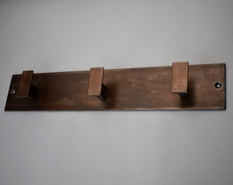 COAT RACK | Steel coat rack with copper patina hat rack coat hooks wall mount, towel rack, steel hat rack wall mounted, modern, minimal
