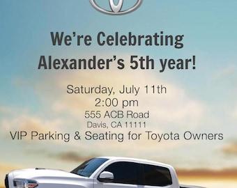 Toyota Birthday Invitation