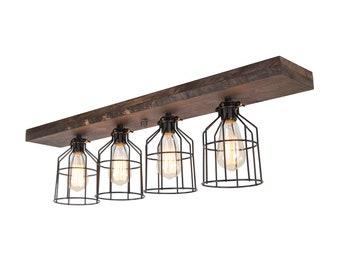 Farmhouse  Flush Mount Wood Light - Wood ceiling light - Light Fixture - Home Decor - Wood Fixture - Farmhouse Decor- Caged Light