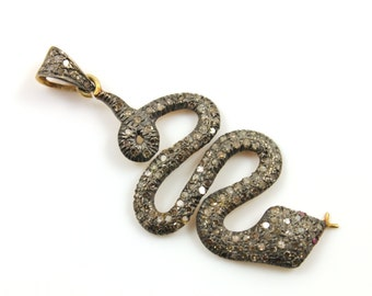 Pave Diamond Pendant, Pavé Snake Pendant, Diamond Snake Charm, Pave Snake Necklace, Pave Connector, Gold Plated Over Silver. (DCH/CR229)