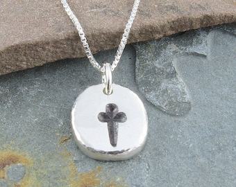 Cross Pendant, Organic Rustic Recycled Sterling Silver Cross Jewelry