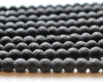 6mm Faceted Matte Black Onyx, full strand, natural stone beads, round, 60059