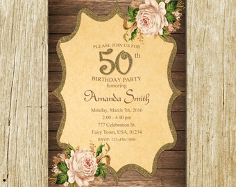 50th Birthday Invitation, 50th Birthday Invitation for Women, 50th Birthday Invites, Rustic Birthday Invitation, Flowers Birthday Invitation