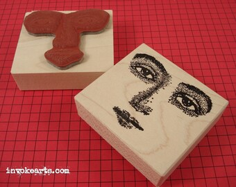 Looking-at-you Face Stamp / Invoke Arts Collage Rubber Stamps