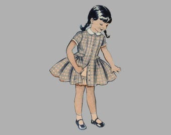 Girls dress pattern, Butterick 6662, Girls Jumper pattern, Size 4, Coat style dress, Princess line girls dress, Portrait neckline, Compete