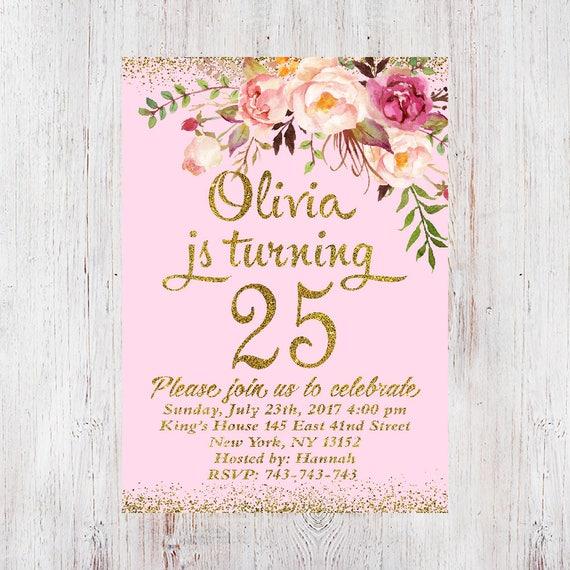 25th Birthday Invitation Any Age Women Birthday Invitation