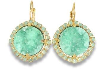 Druzy Earrings,Gemstone Drop Earrings, Dangle Earrings, Mint Earrings, Gold Earrings, Druzy Jewelry, Bezel Sets Earrings, By Inbal Mishan.