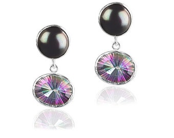 Dangle Stud Earrings with black pearl and alexandrite stones