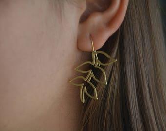 Leaf earrings, gold branch earrings, leaves earrings gold leaf earrings, bridal earrings, wedding earrings, leaf earrings gold long earrings