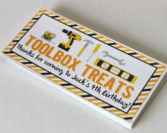 Construction party tool box favor box STICKERS ONLY - birthday party, dump truck birthday, baby shower, dig in birthday party
