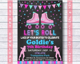Roller Skate invitation, Roller Skating invitation,  INSTANT DOWNLOAD, Roller skating invitation for girls, Roller Skating Party, Roller