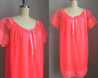 Vintage 1960's NOS Neon Pink Nylon Chiffon and Lace Babydoll Nightgown Nighty Size XL