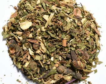 PEPPERMINT CHAI | Artisan Herbal Tea Blend | Organic | Loose Leaf or Tea Bags | Tea Tin | Iced Tea | Eco-Friendly