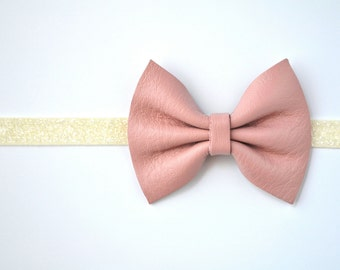 Ballet Pink Leather Baby Headband for Newborn Child Little Girl Adult Adorable Photo Prop Spring Summer Ivory Bow