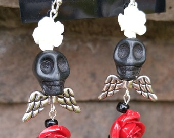 Skull, Roses and Wings Day of the Dead, Día de Muertos earrings