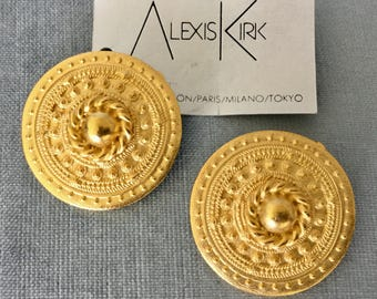 Massive ALEXIS KIRK Signed ETRUSCAN Revival Round Earrings Brushed Gold-plated Metal Clip-on Vintage Rare Designer Runway Couture Statement