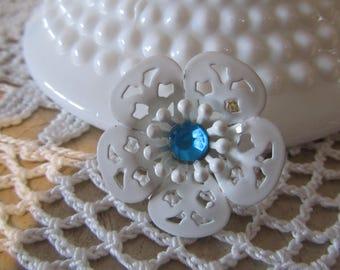 ENAMEL FLOWER BROOCH, White Enamel Brooch With Blue Rhinestone