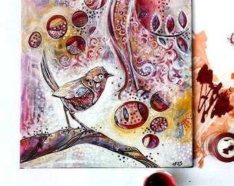 Acrylic Painting on Canvas. Curious Bird.