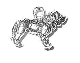 Sterling Silver Saint Bernard Dog Charm Pendant Mini