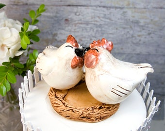 Rooster and Hen Farmhouse Wedding Cake Topper