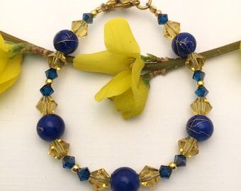 Swarovski Crystal, Cobalt blue bead bracelet, gold metal, beaded bracelet, dainty jewelry