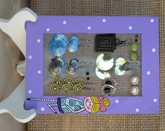 Purple Wooden Earring Holder With A Princess