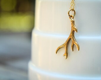 Antler Necklace, Available in Sterling Silver or Natural Bronze