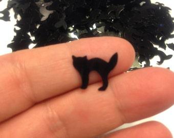 25 black cat confetti / sequins, 12 x 16 mm (17)C