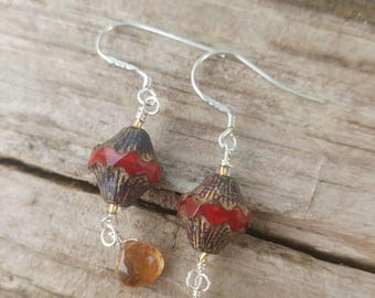 Czech beads and faceted whiskey quartz earrings