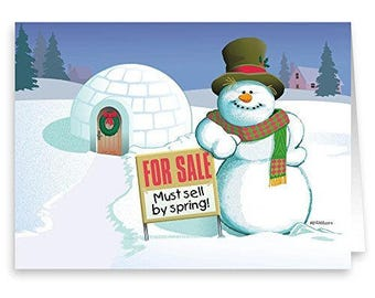 Real Estate Holiday Card - Funny Realty Christmas Card -18 Cards & Envelopes - 50024