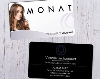 Monat Business Cards - Sleek White Picture Ft with Black & Purple Bk - Durable 16pt - Rich Matte Finish-PRINTED and SHIPPED directly to YOU!