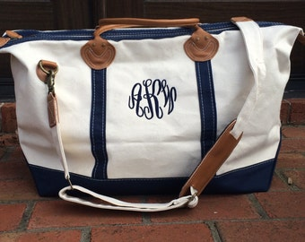 Monogrammed Weekender, Personalized Overnight Bag, Canvas Traveler, Monogram Luggage,Personalized Red Navy Brown, Father's Day Graduation
