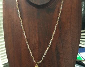 Jasper arrowhead charm on crystal beaded necklace