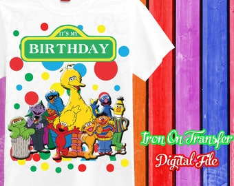 Sesame Street Iron On Transfer, Iron On Sesame Street, Sesame Street Iron On, Birthday Shirt Iron On Transfer, Instant Download
