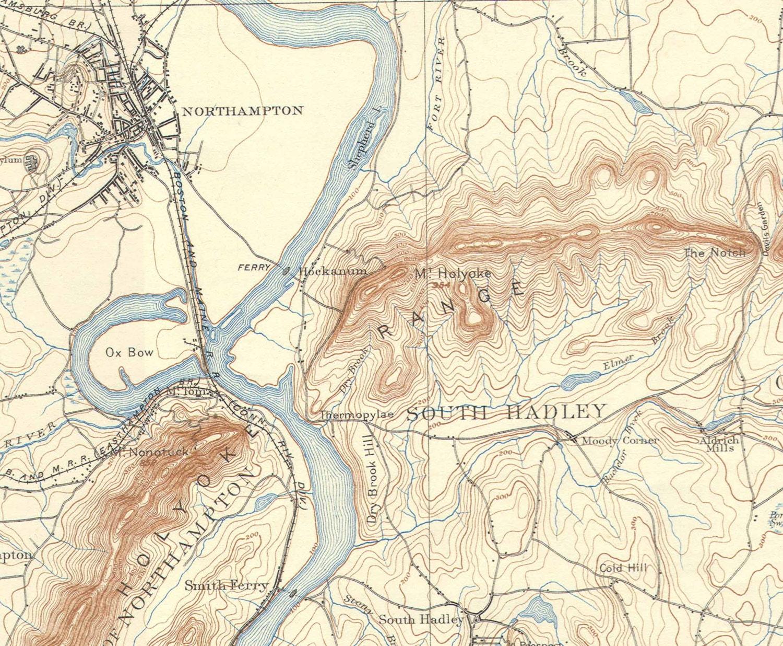 NorthamptonAmherstHadley Old USGS Old Topo Map Massachusetts