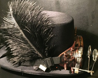 Steampunk Top Hat, Cyber Punk, Retro, With Copper Effect Spikey Goggles, With Eye Loupes And Ostrich Feathers