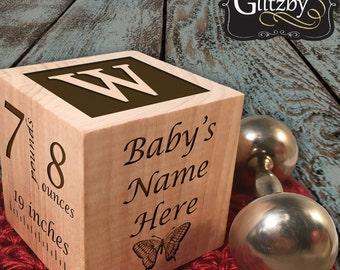 Personalized New Baby Gift Birth Block Personalized Baby Block Personalized Baby Item Newborn Keepsake Baby Girl Baby Boy