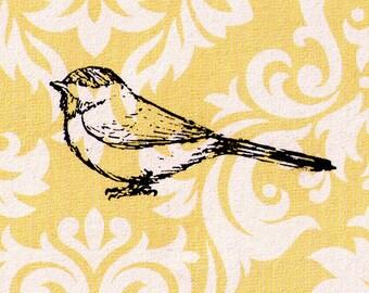 Bird stamp: Chickadee sitting on ground - Wood Mounted Rubber Stamp
