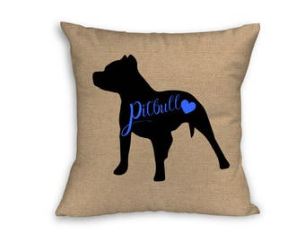 "Blue Pitbull Pillow Cover, Pillow Cover, Pitbull Pillow Cover, 18"" x 18"" Zip Pillow Cover"