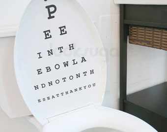 Topography Decal . Eyechart Decal . Snellen Chart Decal . Bathroom Wall Decal - 0076