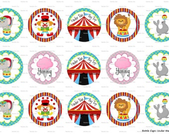 """15 Under the Big Top Circus 1 Digital Download for 1"""" Bottle Caps (4x6)"""